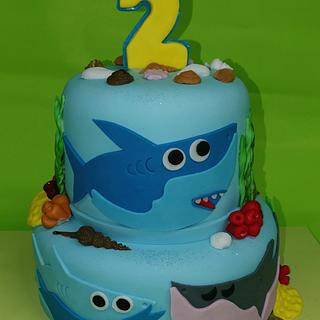 Sea cake with sharks - Cake by Sunny Dream