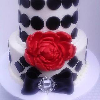 Modern Black with Red Peony