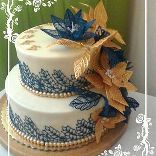 Gold blue lace