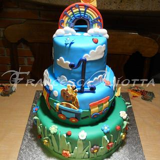 Rainbow colorful cake