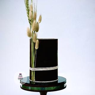 Ganache cake with dried flowers