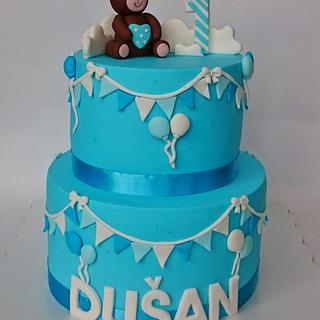 Teddy bear blue cake