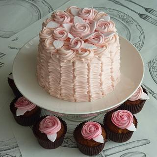 Buttercream Ruffles and Roses Cake