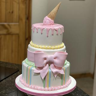 Drips, stripes With Bow - Cake by Cakes For Fun