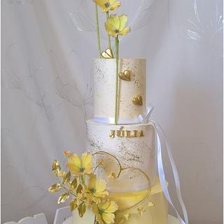 Spring flowers heart & cake - Cake by Tortolandia