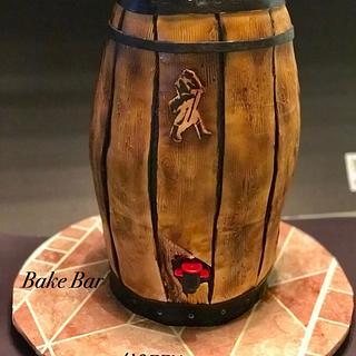 Whiskey Barrel cake with working whiskey dispenser!