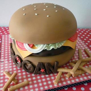 Cheeseburger & Fries birthday cake