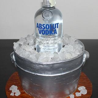 Absolut vodka alcohol bucket shaped 3D cake