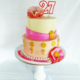 Pink and Gold - Cake by amie