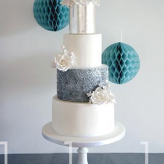 Silver Rose Winter Wedding Cake