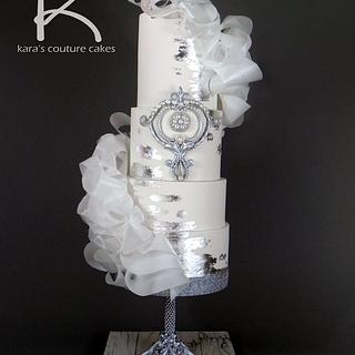 Glitz and Glam Wedding Fashion with Sugar Diamonds and Silver Leaf - Cake by Kara's Couture Cakes