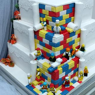 Autumn/Lego Reveal Wedding Cake