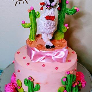 Llama engagement Cake - Cake by Bethann Dubey