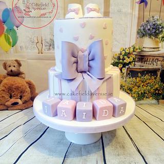 Lilac & Pink Christening Cake