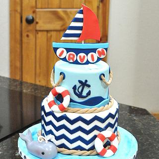 Sailor Themed First Birthday - Cake by Cakes For Fun