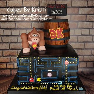 Pac-Man & Donkey Kong Graduation Cake - Cake by Cakes By Kristi