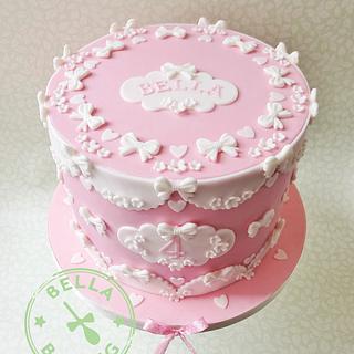 Pink princess bows birthday cake
