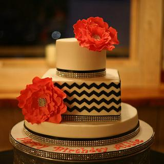 Buttercream chevrons w/ fondant fantasy flowers