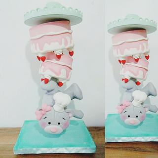 Gravity teddy bear cake