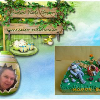 Fondant Cake Topper Sweet Easter Collaboration - Don't You Eat The Easter Eggs Mr. E. Bunny!