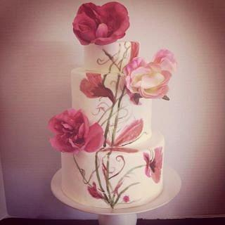 Painted Cake w/ Pink Flowers