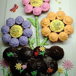 Colorful cupcake cake