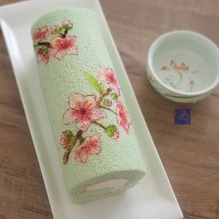 Cherry Blossom Hand Drawn SwissRoll  - Cake by Ms. V