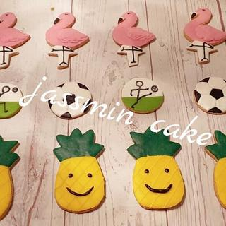 Flamingo & pineapple & football cookies