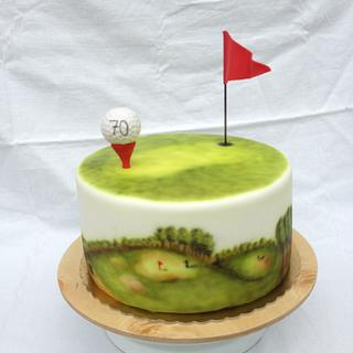 Airbrushed golf lover cake