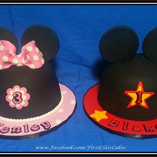 Minnie & Mickey Mouse Ears Cake & Cupcakes