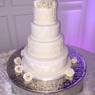 Ivory Rose Wedding Cake