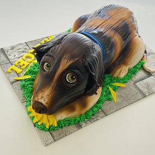 Puppy eating a daisy  - Cake by Rhona