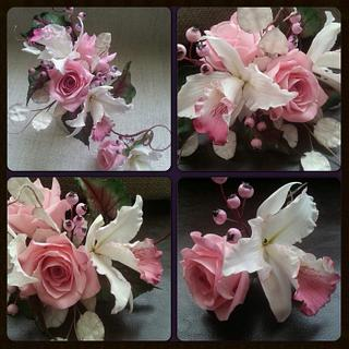 Sugar flowers and foliage for a Pure Romance style cake