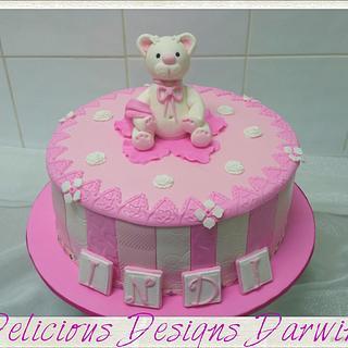 white teddy baby cake