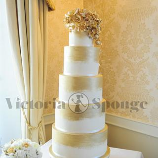 Golden Double Barrel Towering wedding cake!