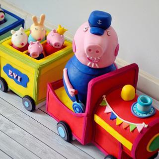 Peppa pig gradpa's train! El tren de Peppa - Cake by Evangeline.Cakes