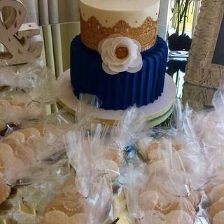 Navy & Gold Bridal Shower Cake