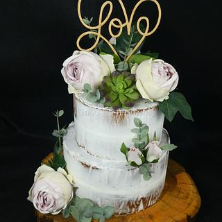 Roses and Cacti Engagement Cake - Cake by Cakes by Vivienne
