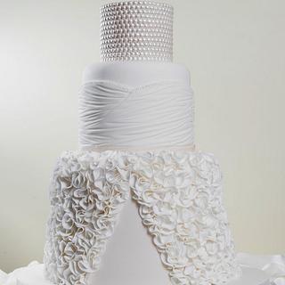 Ruffle Wedding dress cake - Silver award winning cake