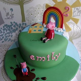 Rainbow, sun and peppa - Cake by suzanneflynn