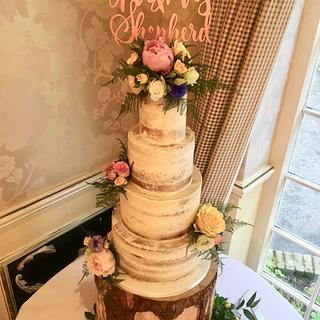 Semi naked wedding cake  - Cake by Andrias cakes scarborough