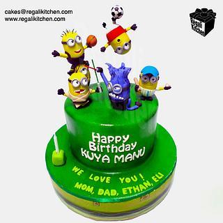 Sporty & Geeky Minions Cake