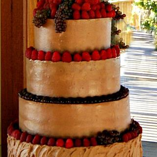 Chocolate berry wedding cake