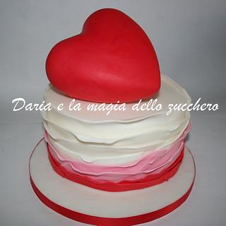 Heart cake with ruffles