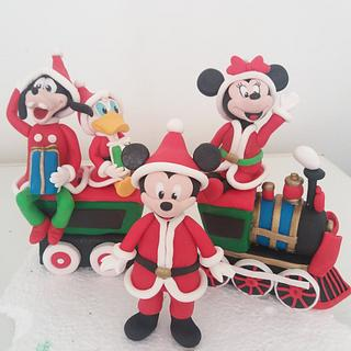 Santa disney Mickey Mouse and friends