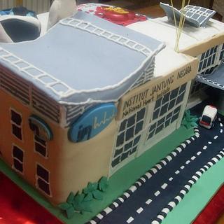 Hospital building cake