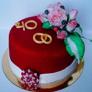 cake at Ruby wedding
