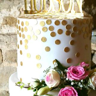 Gold and Pink Wedding Cake - Cake by The Rosehip Bakery