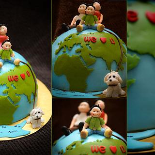 Family on the Globe