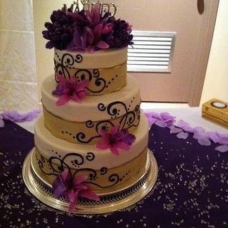 Purple Blossom Wedding Cake - Cake by cakesbymary